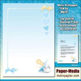 Motivpapier Briefpapier BABY SCHNULLER (BLAU) 100 Blatt DIN A4 90g/m²