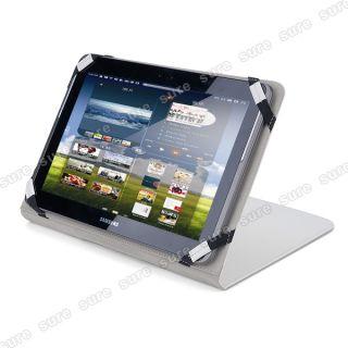 weiß Leder Tasche Case Cover Hülle f. Samsung Galaxy Tab 2 10.1