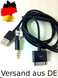 iPhone 4 3 iPod USB AUX IN Dock Kabel Adapter schwarz