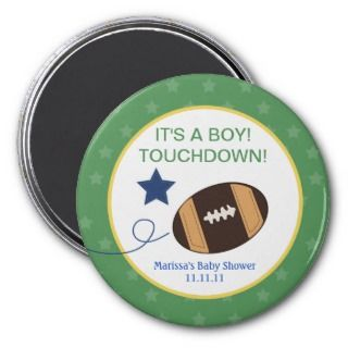 Football Baby Shower 3 inch Round Favor Magnet