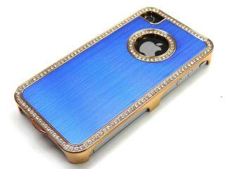 Designer iPhone 4 S ALU STRASS/BLING Blau GOLD RAHMEN Cover hard Case