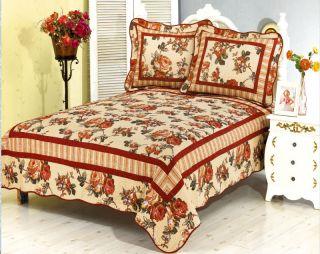 Vintage Rose Reversable Quilt Set King