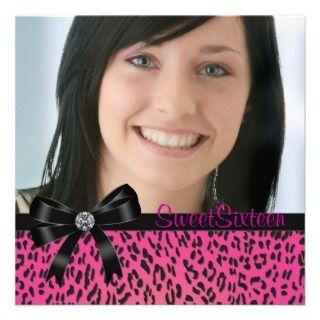 Pink Black Leopard Phot Sweet Sixteen Birthday Par invitations by