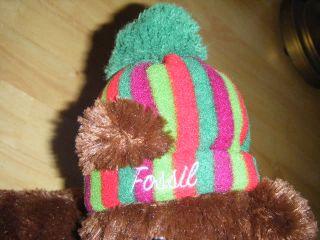 Authentic Fossil Teddy Bear w/Hat & Scarf 13 Tall Plush