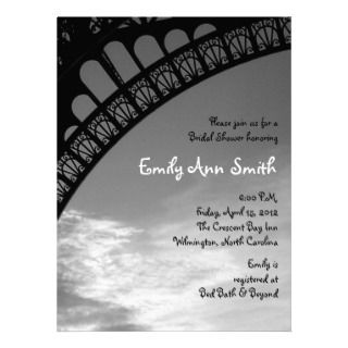 Eiffel Tower Bridal Shower Invitations