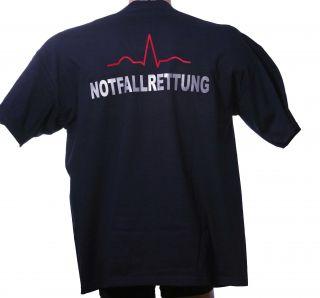 Rettungsdienst T Shirt mit beidseitigem Reflexaufdruck + EKG nach DIN