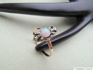 Biedermeier 585 gelb GOLD   Diamant Opal, Ring, Alt Schliff,,,TOP