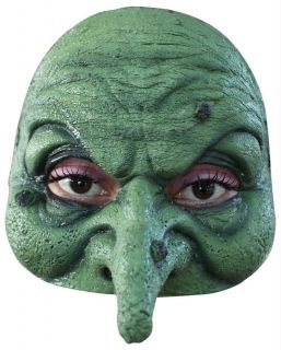 GREEN WITCH WART ON NOSE HALF SOFT VINYL MASK COSTUME DRESS TA493