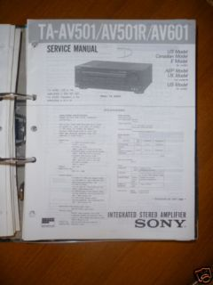 Service Manual Sony TA AV501/AV501R/TA AV601 Amplifier,ORIGINAL