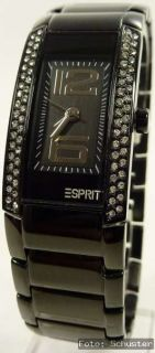 Esprit Damenuhr Damen Uhr NEU Striking Vibe Night schwarz Strass