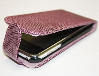 iPhone 3G & 3GS Lila Schlangen Optik Handy Leder Tasche Flip Case