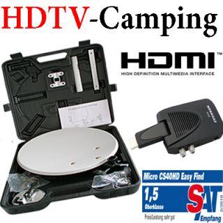 Camping Koffer Digitale Sat Anlage HD Receiver LNB Spiegel Megasat 510