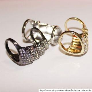 Gelenkring Ring Scharnier Farbe Silber Gold Strass Steinchen Neu