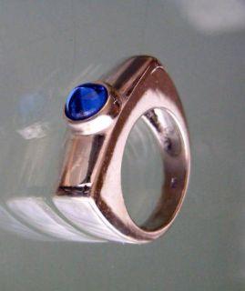 Designer Ring 925 Silber mit blauem Stein