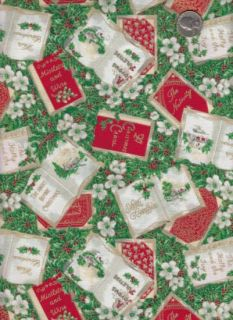 Woodrow Studio Fabric SING A SONG OF CHRISTMAS Songbooks Gold Metallic