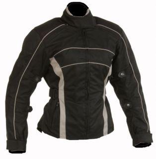 Damen Motorrad Jacke Motorradjacke Schwarz Grau Gr.L