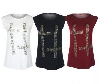 32A Damen Shirt Chiffon Ärmellos Doppeltes Kreuz Nieten Lang Top Hemd