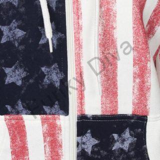 Hoody Damen Kapuzenpullover Sweatshirt USA Amerika Flagge Jacke 36 38