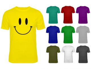 Mens Smiley Happy Face T shirt Pick Colour S XXL NEW