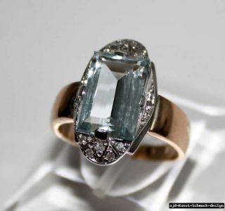 585er Gold Ring mit echtem 3,5 ct Aquamarin und 12 echten Diamanten in