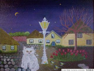 KATZE VOR DER LATERNE   Ölbild Naive Malerei von Ingeborg Konrad