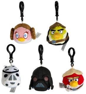 Angry Birds Star Wars Plush Backback Clip On Set Of 5 *New*