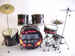 Miniature Drum Set JOHN BONHAM   LED ZEPPELIN Christmas Gift FREE DRUM