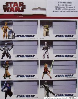8x Star Wars Clone Sticker Schule für Bücher Hefte