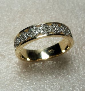Damenring mit 49 Diamanten Brillanten, 585 Gold Gelbgold, Goldring