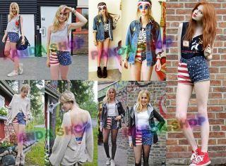 SL590 Mehrfarbig American Flag Denim Jeans Damen Hose Pants Shorts