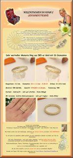 wertvoller Memorie Ring aus 585 Gold mit 26 Diamanten, 0.26Ct