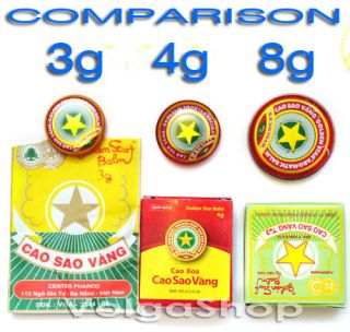12 Boxes x 8 Grams   Vietnam Golden Star Balm   Natural Remedy