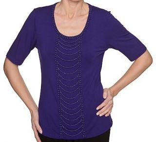 9989 Shirt mit Perlenverzierung lila Gr. 42