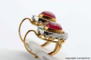 Rubinohrringe Ohrringe Rubine Brillanten Diamanten 18 kt. 750 Gold mit