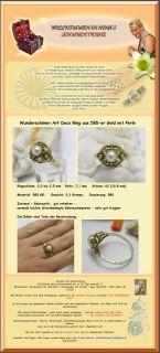 sehr alter Art Deco Ring aus 585 er Gold mit Perle   3,3 Gramm