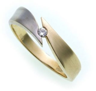Damen Ring Brillant 0,05ct echt Gold 585 Bicolor
