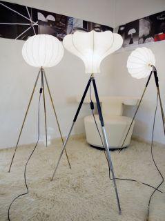 TRIPOD STEHLAMPE Cocoon mid century FLOOR LAMP CASTIGLIONI Panton