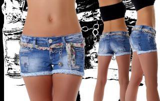 Neu Hot Pants Damen Jeans Hose Shorts Kette Tuch Patches Style 34 36