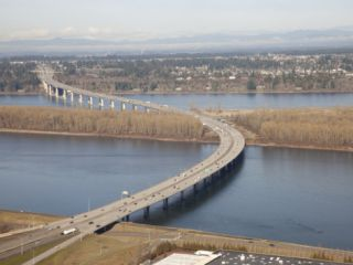 Interstate 205 Bridge, Crossing the Columbia River from Oregon into Washington State Photographic Print by Marli Miller
