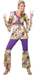 Hippy Flares + Top Outfit 60s 70s Fancy Dress Hippie Adult Ladies