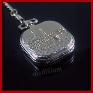 Edle Herren Taschen Uhr Silber Mekka Mekke Allah Islam Kaaba Kaabe mit