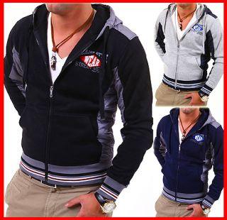 MT BD Sweatjacke Zipper Kapuzen Pullover Hoodie Cardigan Schwarz/Grau