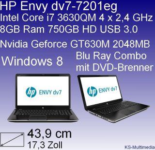 HP Envy dv7 7201eg 43,9cm Notebook mit Intel Core i7, 8GB RAM, GT630M
