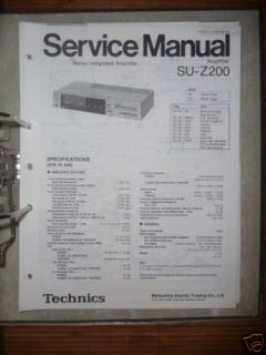 Service Manual Technics SU Z200 Amplifier,ORIGINAL