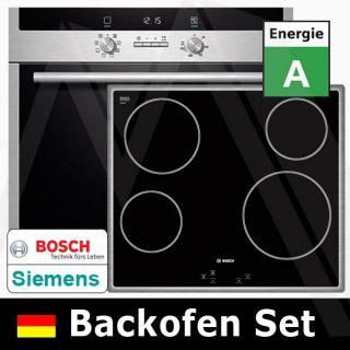 Bosch Set Einbaubackofen Glaskeramik Kochfeld Hbd541c50