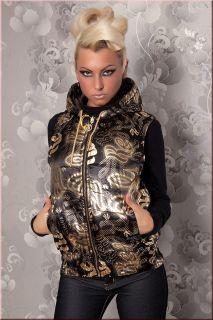 Stylische Damen Wende Weste in schwarz Gold Farben mit Kapuze un