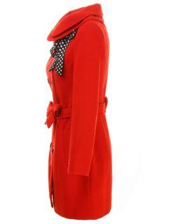Mode Lady Womens stolzierte Kragen großen Bogen Langarm Wolle schlank