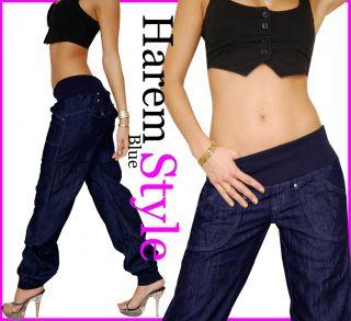 D13 Sexy Damen Pumpjeans Harem Aladin Dunkelblau Pump Jeans Hose XS 34