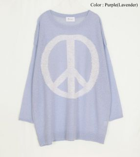 AnnaKastle New Womens Crewneck Loose Fit Peace Sign Boyfriend Sweater