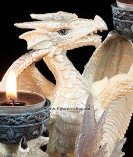 Drachen Teelichthalter mit Elfe   Deko Figur   Dragon Fairy Statue